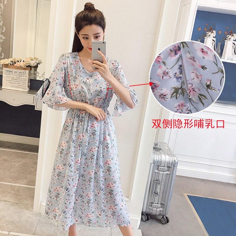 Maternity Dress 2019 Summer New Style Nursing Pregnant Women Dress Korean-style Thin Mid-length Fashion Mom Chiffon Skirt