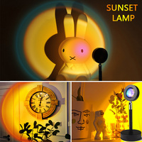 Lámpara Led de noche para decoración de dormitorio, proyector de atardecer de arcoíris, escritorio, atardecer, fondo, decoración de pared, iluminación