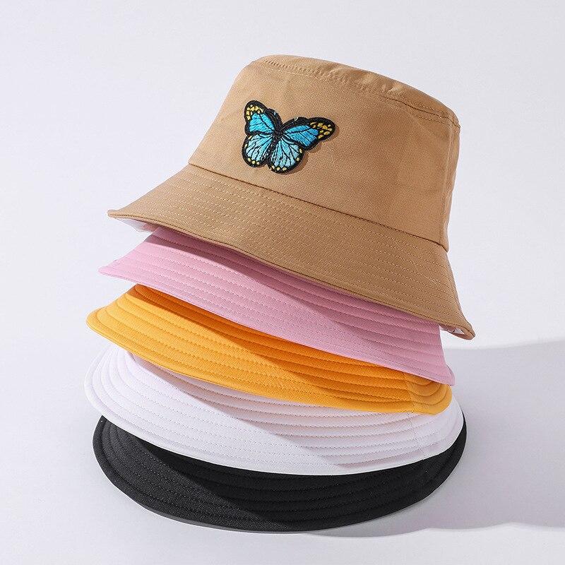 Панама Солнцезащитная унисекс, белая шляпа с бабочкой, розовая, для отдыха на открытом воздухе, пляжа
