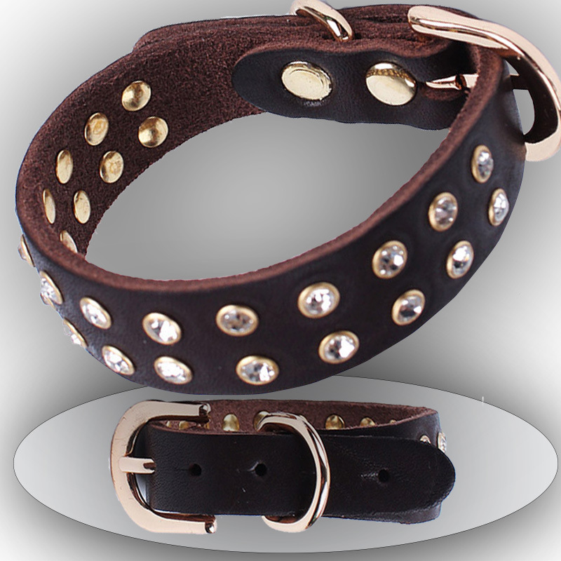 New Style Cow Leather Collar Teddy Puppy Bandana Foreign Trade Leather Dog Neck Ring-Style Small Dogs Diamond Set Collar Dog Col