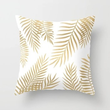 Gold Delicate Tropical Cushion Cover