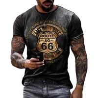 Magliette da uomo nuove estive abiti larghi oversize Vintage manica corta moda America Route 66 lettere stampate O colletto Tshirt