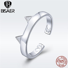 BISAER 3 Color Cat Ring Genuine 925 Sterling Silver Cute Pet Cat Silver Women Finger Ring Fashion Silver Jewelry Gift GXR387 bisaer silver rings 925 sterling silver pet french bulldog open finger ring for women silver ring fashion jewelry hsr411