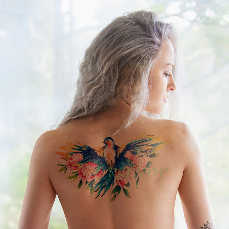 Waterproof Temporary Tattoo Sticker Bird Rose Fake Tatto Flash Tatoo Tatouage Sexy Big Size Body Back For Girl Women