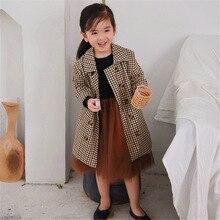 Модные клетчатые куртки для девочек г., Осенняя детская длинная куртка и пальто для детей, пальто, Ветровка для девочек