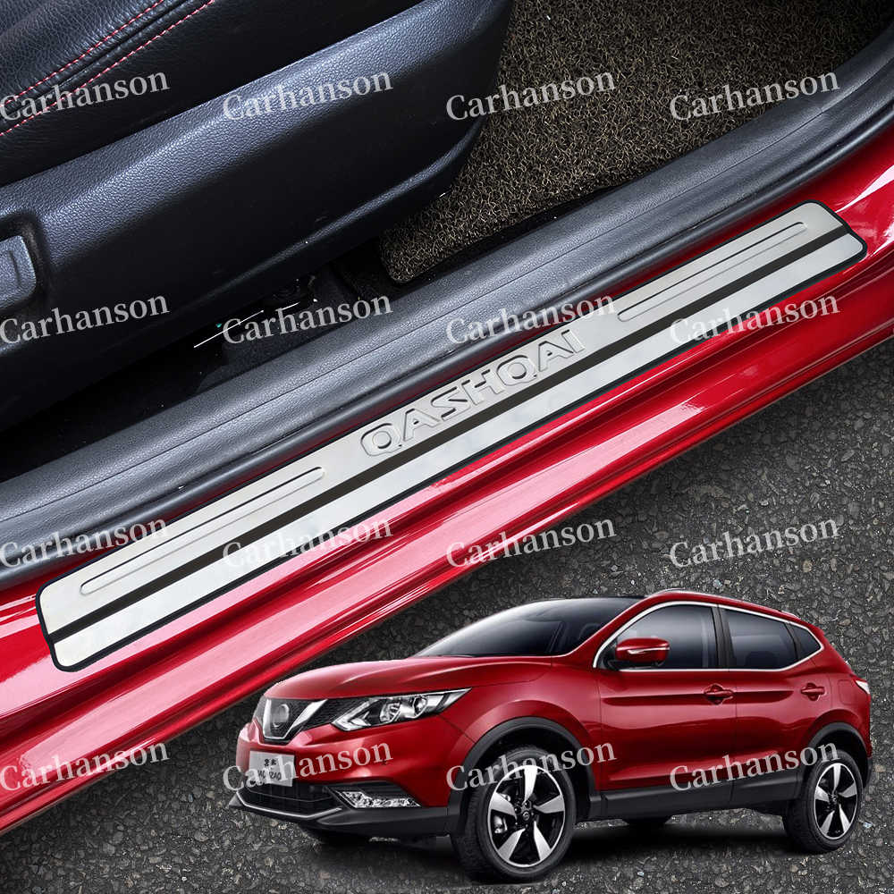 4pcs Stainless Steel Door Sill Cover Scuff Plate Guard Protector Trim Car Accessories for Nissan Qashqai J11 2017 2018
