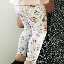 Для новорожденных брюки леггинсы для маленьких девочек хлопковые детские брюки с цветочным рисунком осенняя одежда для детей от 0 до 18 месяцев
