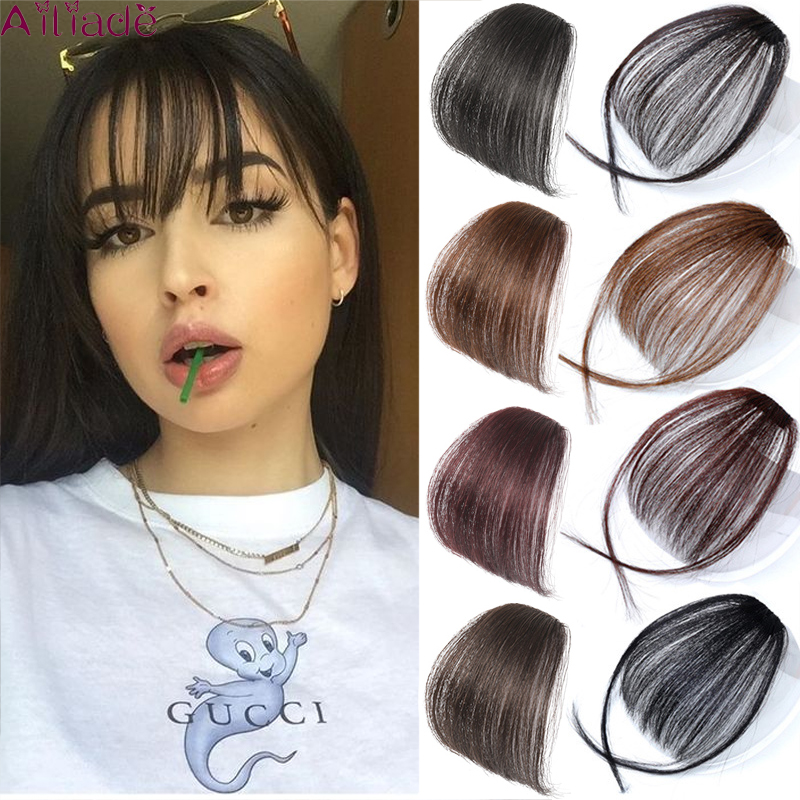 AILIADE Women Clip In Hair Bangs Hairpiece Synthetic Fake Hair Piece Clip In Hair Extensions Front Neat Air Bangs Fringe Bangs