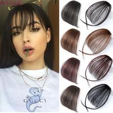 Ailiade mulheres grampo no cabelo franja franja franja franja franja franja cabelo sintético falso pedaço de cabelo grampo em extensões de cabelo frente puro