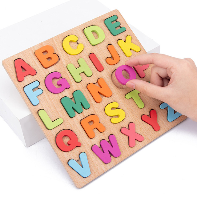New Wooden 3D Puzzle Toy Kids English Alphabet Number Cognitive Matching Board Baby Early Educational Learning Toys for Children 5