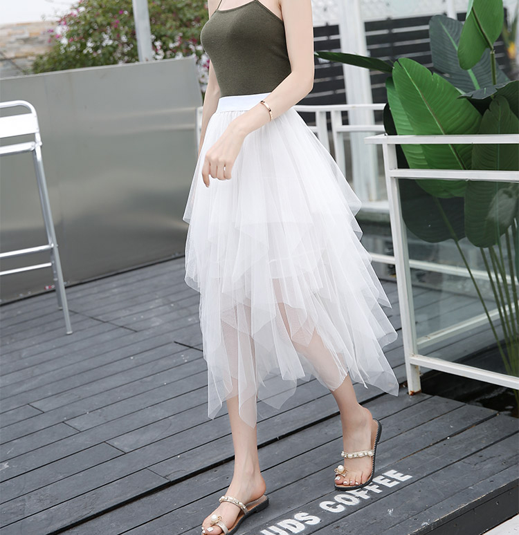 Tulle Skirts Womens Faldas Mujer Moda 19 Fashion Elastic High Waist Mesh Tutu Maxi Pleated Long Midi Saias Jupe Women's Skirt 17