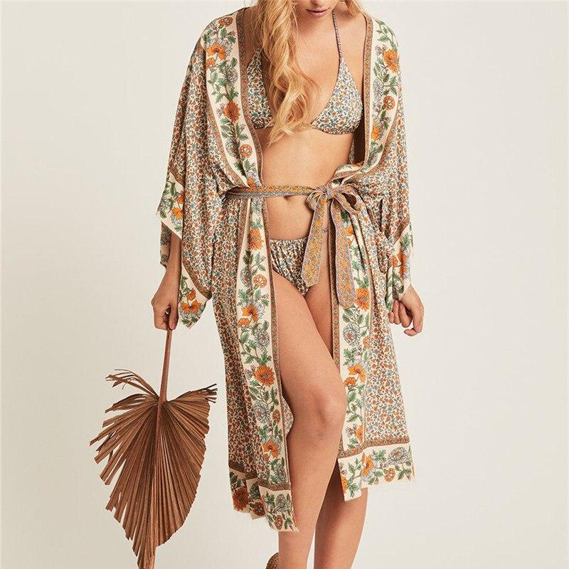 Bohemian Printed Bikini Cover-ups Elegant Self Belted Kimono Dress Tunic Women Plus Size Beach Wear Swim Suit Cover Up Q1228 12