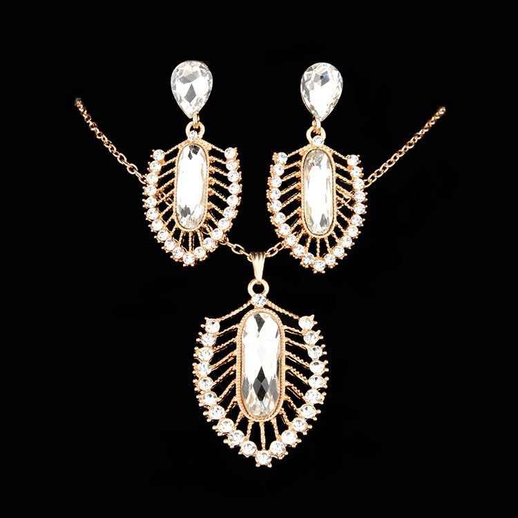 ファッションアフリカドバイゴールドジュエリーナイジェリア水晶のネックレスのドロップイヤリング女性イタリアブライダルジュエリーセットウェディングアクセサリー