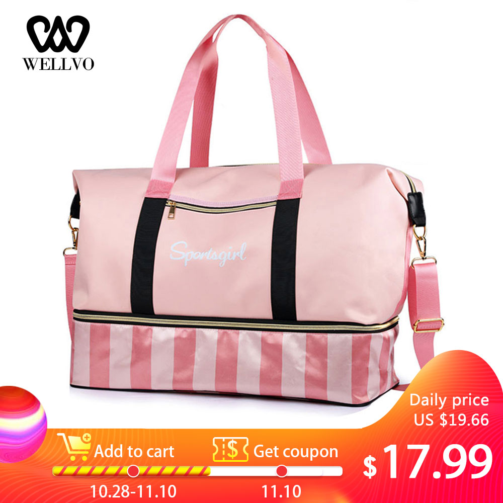 Fashion Bags Striped Travel Duffel Carry On Luggage Weekend Bag Shoes Dry Wet Separated Big Tote For Women Yoga Handbag XA647WB