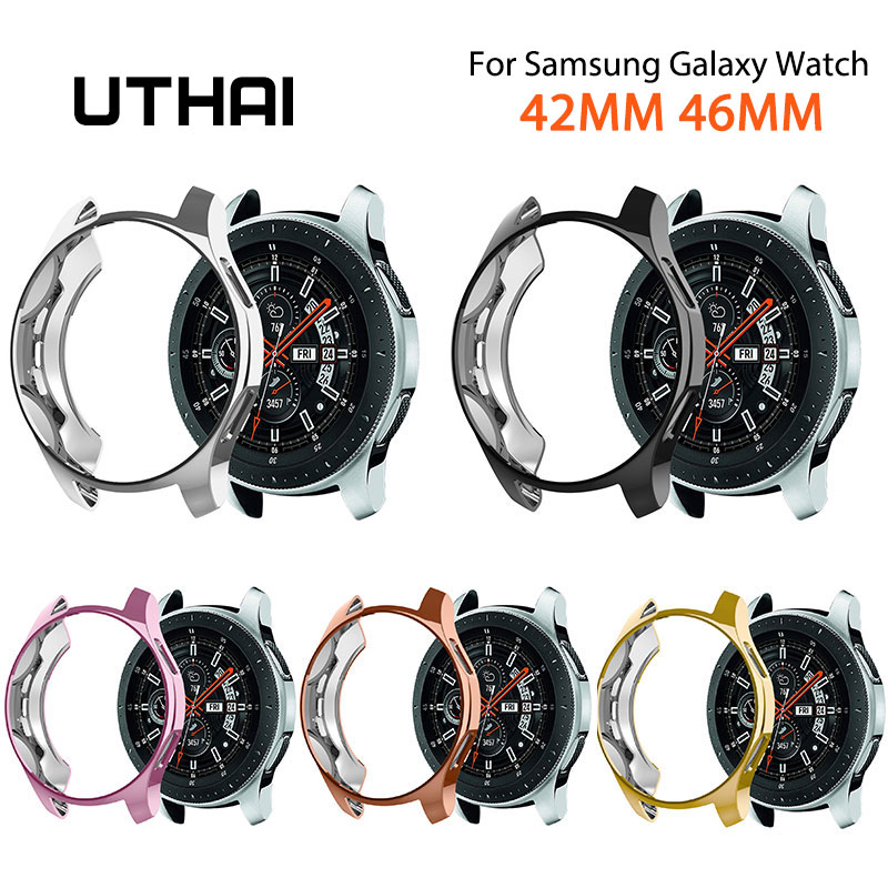 UTHAI For <font><b>Samsung</b></font> Galaxy <font><b>46mm</b></font> 42mm watch case Galvanized protective cover TPU advanced material For Galaxy <font><b>46MM</b></font> 42MM case G03 image