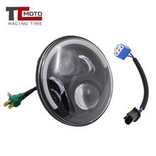 цена на TCMOTO 7 Inch H4 LED moto Headlight For Harley Davidsion Softail Touring Trike 7inch Halo DRL Led Projector Motorcycle Headlamp
