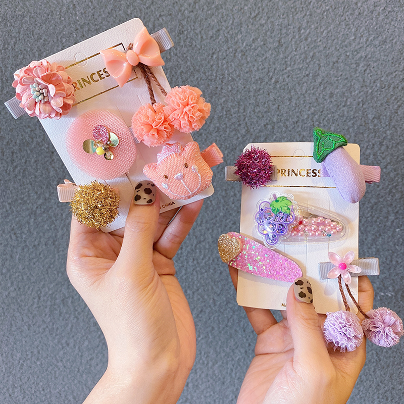 Hair Accessories  5Pcs/Set Baby Girls Fruit Cartoon Princess  Hair Clips Sweet Headwear Hairpins Barretts
