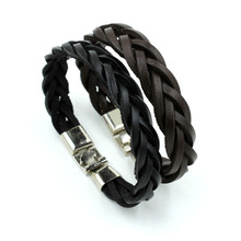 Punk Men Jewelry Black/Brown Braided Hand-woven Twist Genuine Leather Bracelet Magnetic Clasp Fashion Bangles