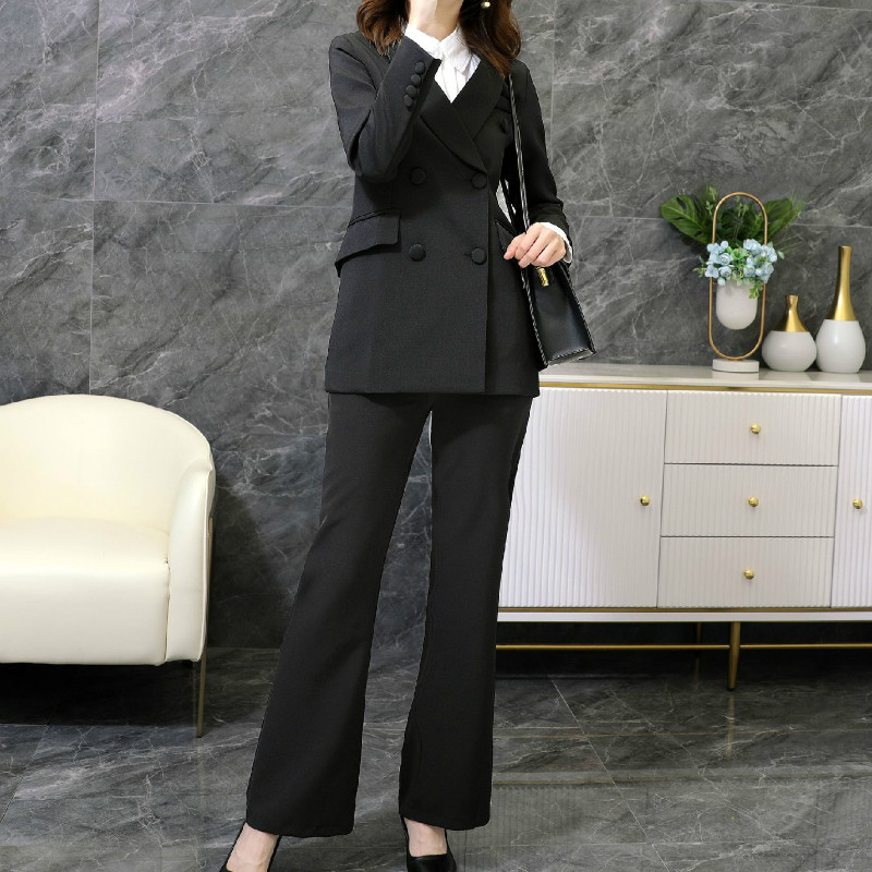 Large size M-5XL high quality female suit pants two-piece Autumn and winter professional ladies jackets Elegant flared pants
