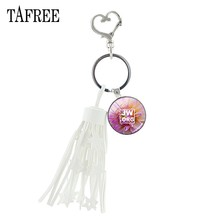 TAFREE natural green plant photo tassels Key Holders JW.ORG glass Jehovah's Witnesses Brand jewelry for women Handbag JW67(China)