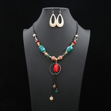 Fashion Acrylic Crystal Leather Rope Jewelry Set For Women Geometric Irregular colored stones Pendant Earring Necklaces