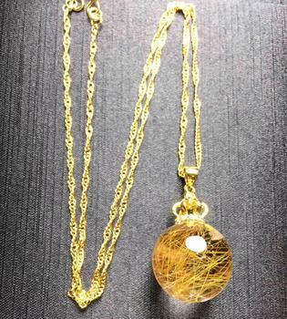 Natural Gold Rutilated Quartz Pendant 19mm Ball Shape Woman Man Wealthy Lucky Gift Luxury Gemstone Pendants AAAAA