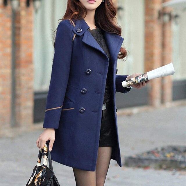 ZOGAA ماركة المرأة معطف صوف الخريف موضة طويلة خندق معطف المرأة الملابس الدافئة سليم صالح يمزج الصلبة الصوفية معطف