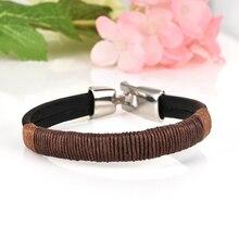 Мода ретро панк для женщин мужчин Конопля обертывание кожаный плетеный металлический браслет черный коричневый браслеты ювелирные изделия