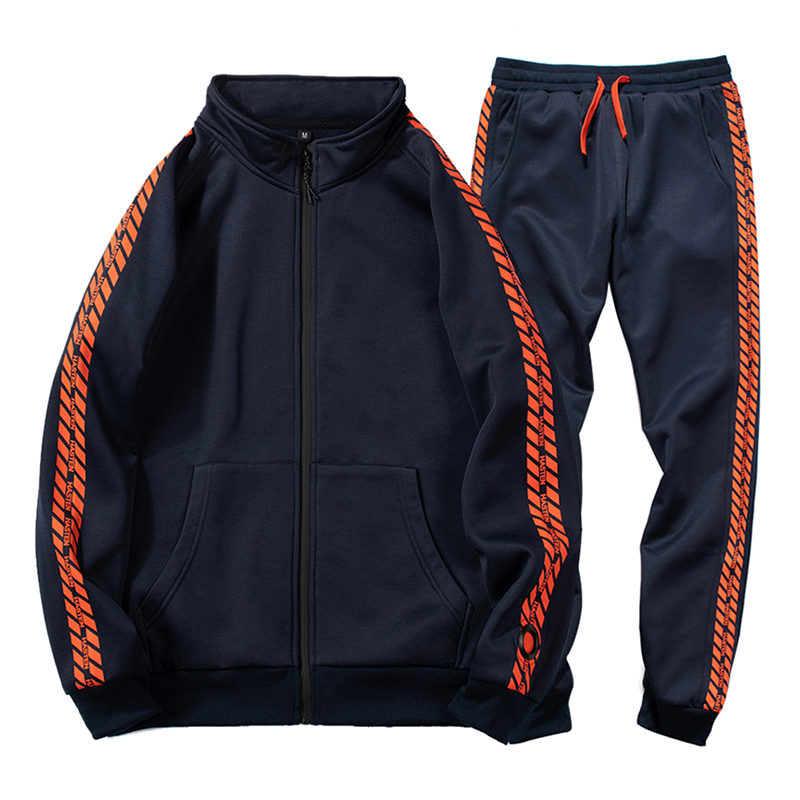2019 New Trend Men Casual Sets Print Autumn Winter Men's Sportswear Zipper Tracksuit Hooded Jacket+Pants Two Piece Sets Outwear