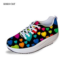 Koko cat  Women Slimming Shoes Swing Platform Heart-shaped Girls Outdoor Sport Fitness lady Breathable Plus Size