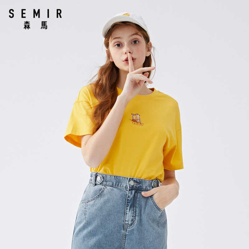 Semir 2020 여름 t 셔츠 여성 새 코튼 반팔 티셔츠 여성 자수 탑 ins tide 편안한 라운드 넥