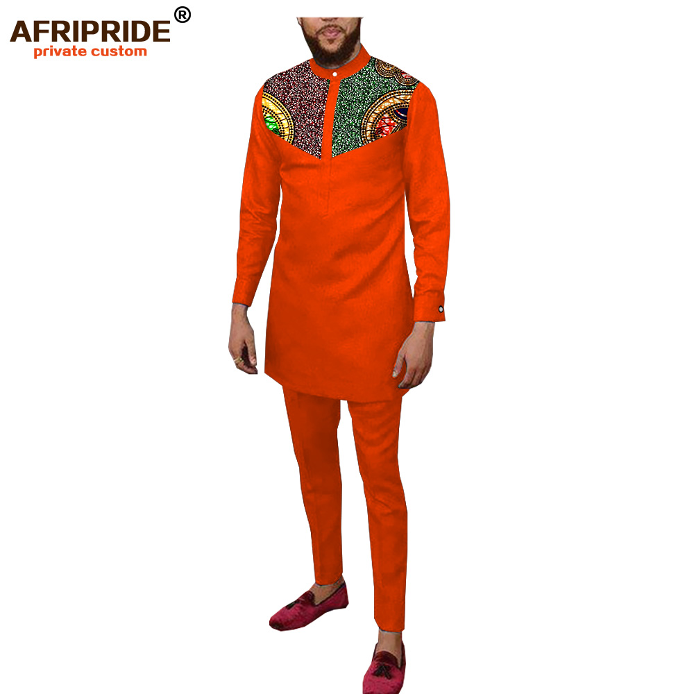 Men`s Casual African Traditional Clothing Set Dashiki Print Shirt And Pants Suit Wax Batik Attire AFRIPRIDE A2016001B