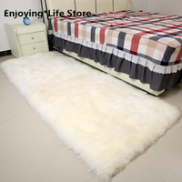 Square Real Sheepskin Rug Sheep Fur Bed Slide Carpet White Shaggy Sheep Fur Sofa Seat Mat for Home Decoration