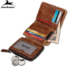 wallet for men made of genuine leather Men's Tri-fold Wallet Clasp Zip billetera hombre Coin Purse Wallet For Men With Gift Box