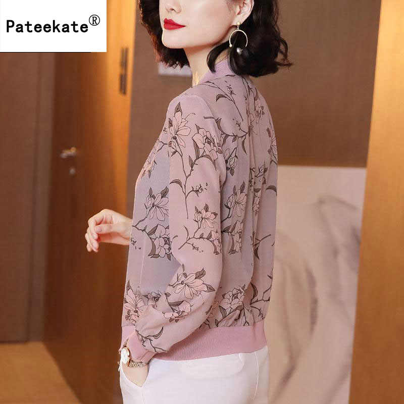 봄 여름 V 넥 지퍼 롤업 긴팔 티셔츠 여성 봄 여름 시폰 블라우스 탑 Blusa Feminina 플러스 사이즈 3XL
