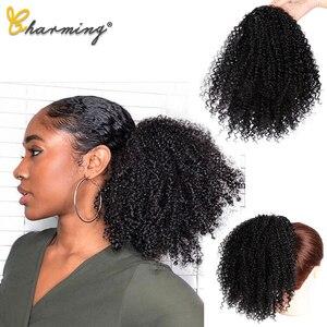 Очаровательные афро кудрявые вьющиеся конский хвост наращивание волос шнурок афро американский короткий обруч шиньон синтетический слоен...