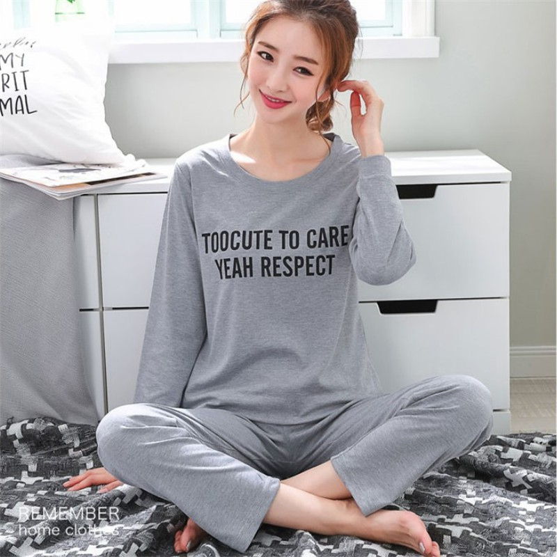 Sleepwear 2019 Autumn Pyjamas Women Carton Cute Pijama Pattern Pajamas Set Thin Pijamas Mujer 90S Dropshipping