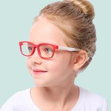 Children Optical Glasses Flexible Bendable One-piece Safe Eyeglasses Girls Boys Plain Mirror Anti-blue Light Silicone Goggles
