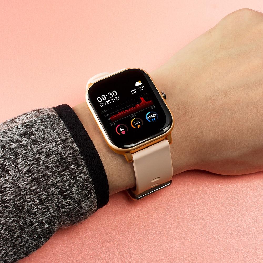 H05d9bb45373c4d6ea645d55c9b8ae80b3 2021 New P8 Color Screen Smart Watch Women men Full Touch Fitness Tracker Blood Pressure Smart Clock Women Smartwatch for Xiaomi