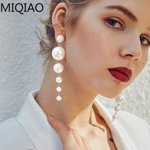Creative Minimalistic Size Faux Pearl Long Earrings Female Wild Hipster Atmospheric Stud Earrings Pearl Earrings faux pearl espadrille flatform sliders