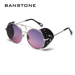 Image 4 - BANSTONE Women Vintage Metal Circle SteamPunk Polarized Sunglasses Leather Side Shield Brand Men Sun Glasses Oculos De Sol UV400