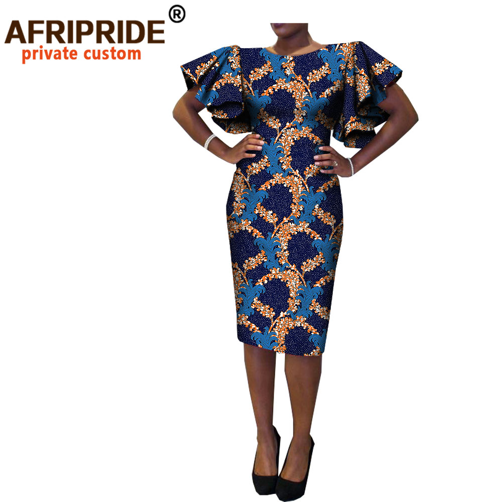 new african spring women dress AFRIPRIDE short butterfly sleeve o-neck knee-length casual cotton dress for women A7225133