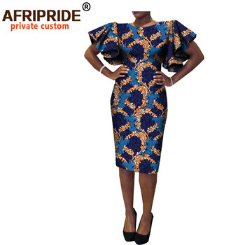 new african spring women dress AFRIPRIDE short butterfly sleeve o-neck knee-length casual cotton for A7225133