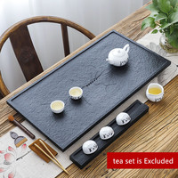 Chinese black stone tea tray water draining outlet serving trays heavy weighted stone tea table for kungfu tea set multi size
