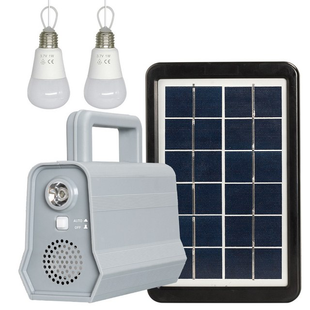 Power Panel LED Solar Generator Kit Bluetooth Speaker USB Charger Home System + 2 LED Bulbs Outdoor Lighting Smartphone Charging 1