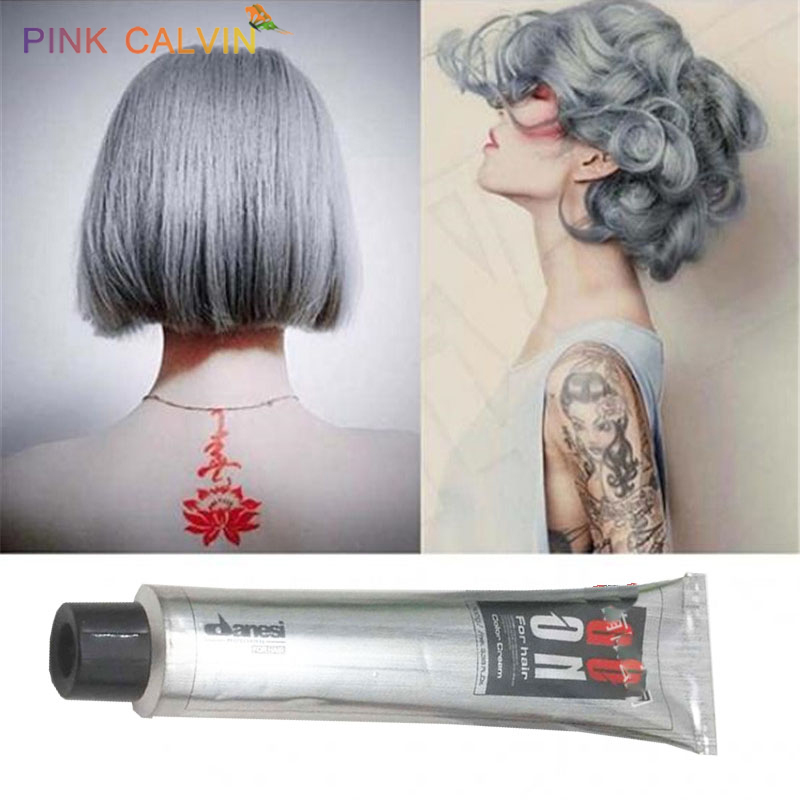 Fashion Gray Hair Color Wax Cream Unisex Smoky Gray Punk Style Light Grey Silver Permanent Hair Dye Color Paint Wax image