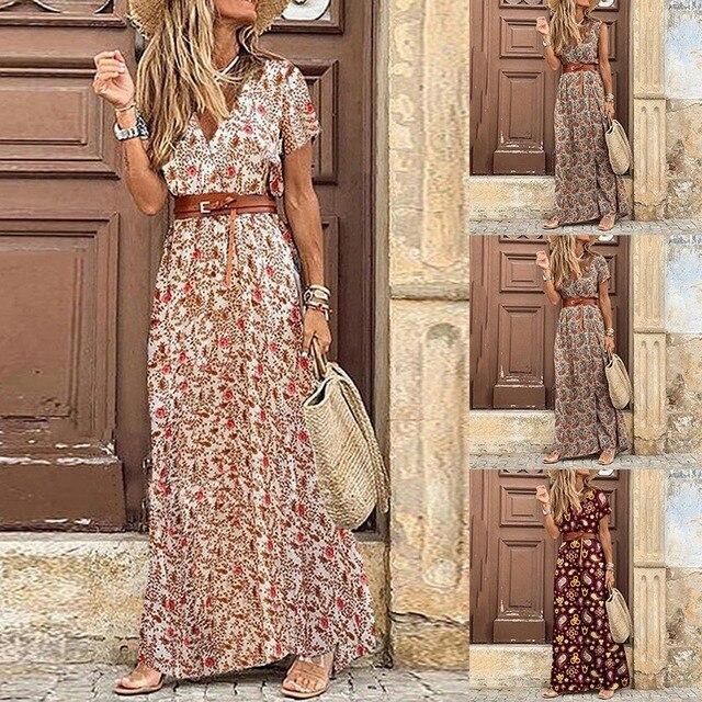 Womens Long Dress Summer V-neck