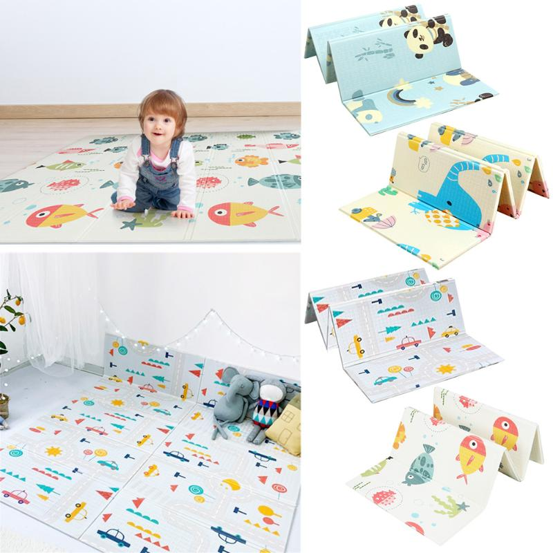 200x180cm Cartoon Children Play Mat XPE Foldable Thickened Pad Kids Infants Floor Crawling Carpet Home Decoration Floor Covering