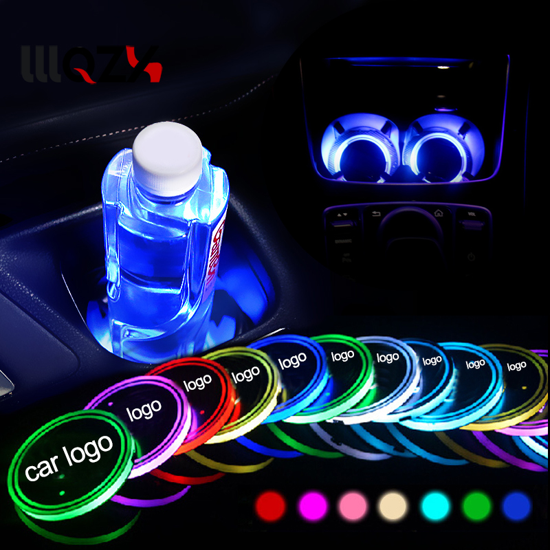 1xCar Led Smart Luminous Coaster Logo Cup lights For BMW Audi Mercedes Benz Ford Volkswagen Toyota Dodge Mini Car Accessories