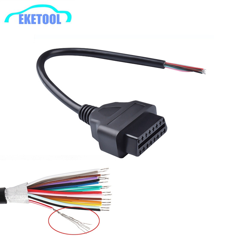 Universal OBDII 16Pin Female Connector Extended Opening Cable Fits All OBD2 16Pin Vehicles OBD2 Female Connector